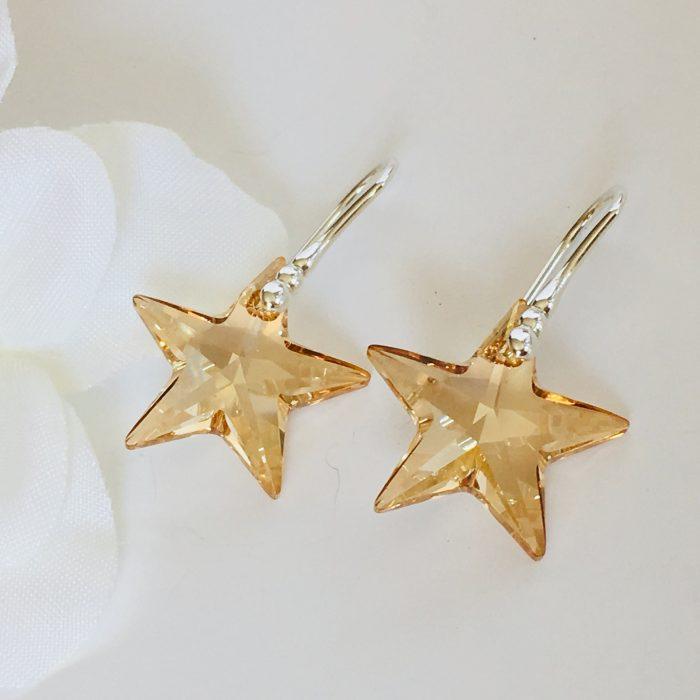 11mm Golden Shadow Hoop Crystals From Swarovski® 24K Gold Vermeil Earrings.
