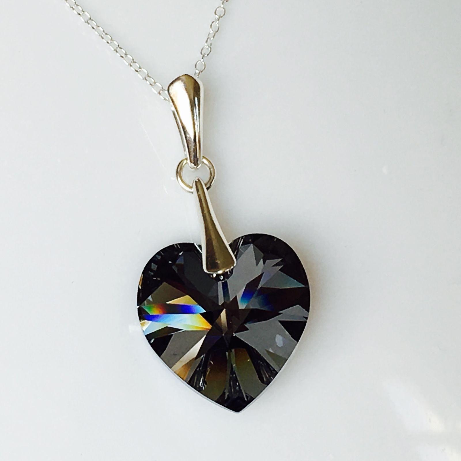 daa7ce00a Swarovski Elements Silver Night Heart | Crystal Elegance