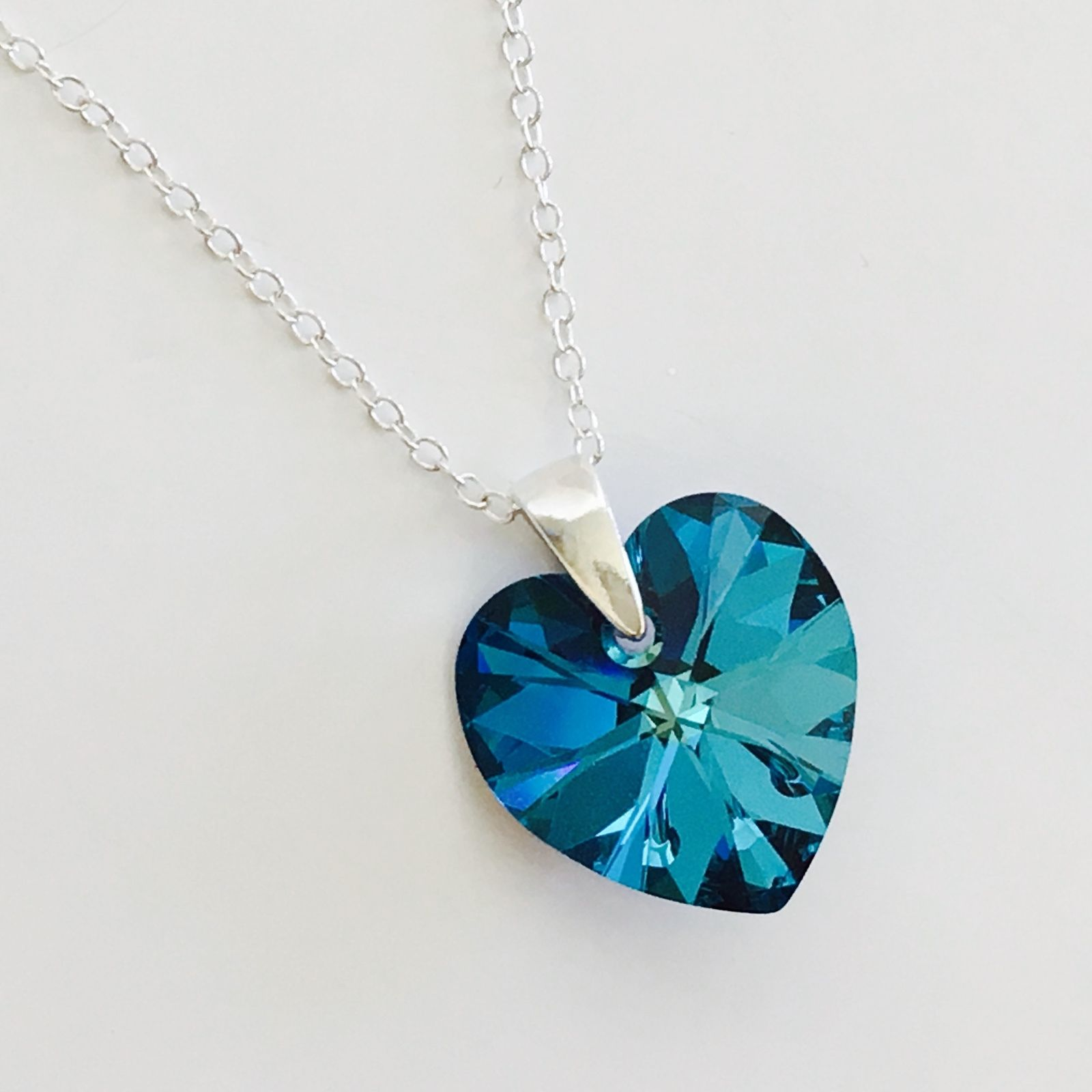 Swarovski Elements Bermuda Blue Heart Crystal Elegance