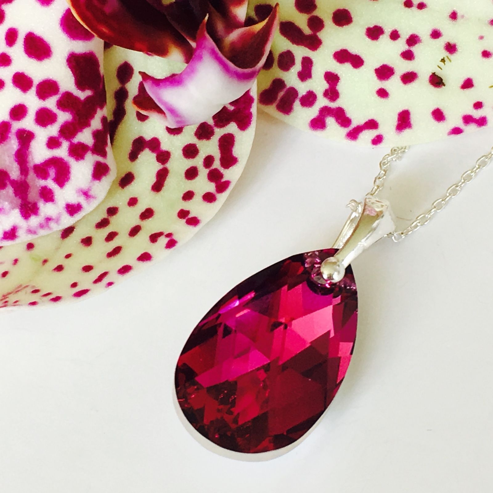 4e2dd17cb Swarovski Elements Fuchsia Pendant | Crystal Elegance
