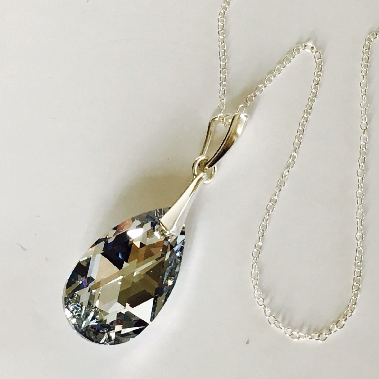 Swarovski Elements Crystal Necklace 22mm Pendant Teardrop Jewellery Comet Argent