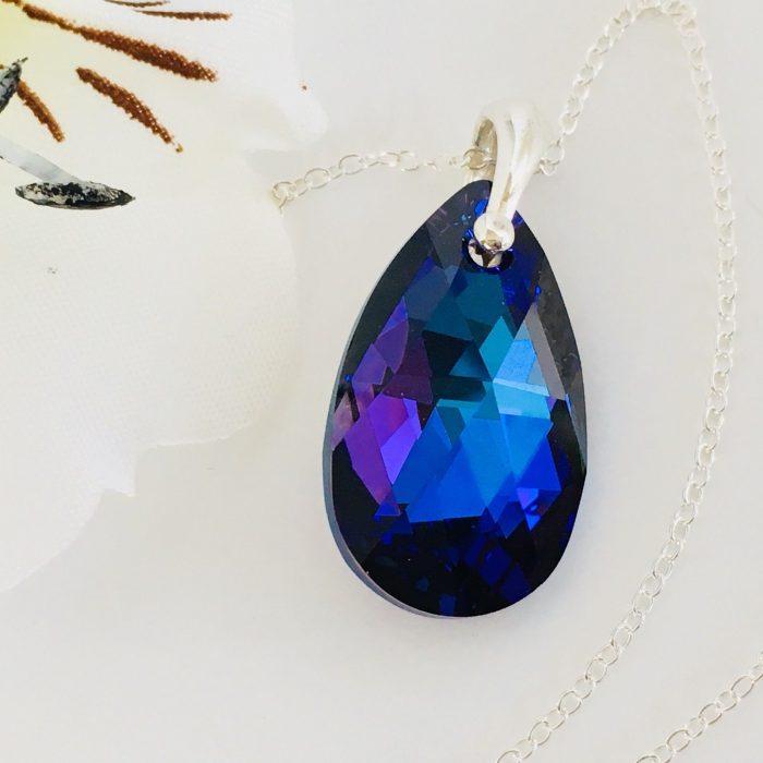 602594631 Details about 925 Silver Swarovski Elements Crystal Necklace 22mm Pendant  Teardrop Pear