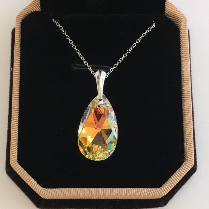 0a2aaa9d4 Details about Swarovski Elements Crystal Necklace 925 Silver 22mm Pendant  Tear Pear Aurora AB